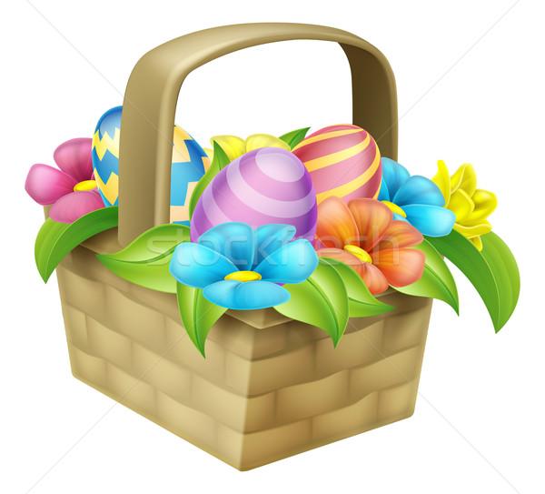 Easter Eggs Basket Stock photo © Krisdog