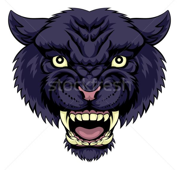 черный Panther иллюстрация мощный животного лице Сток-фото © Krisdog