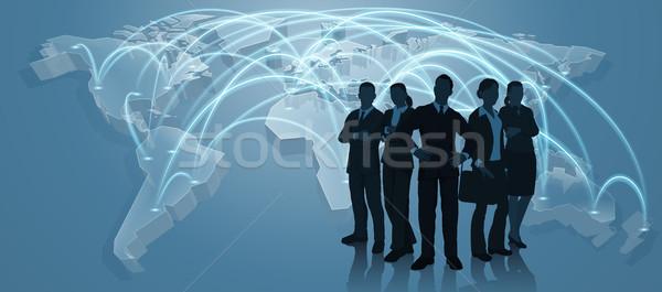 équipe commerciale monde échanges carte logistique carte du monde Photo stock © Krisdog