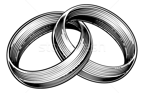 Wedding Rings Bands Engraved Etching Woodcut Style Stock photo © Krisdog