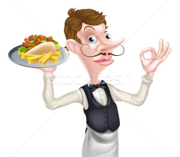 Cartoon Perfect Kebab and Chips Waiter Stock photo © Krisdog