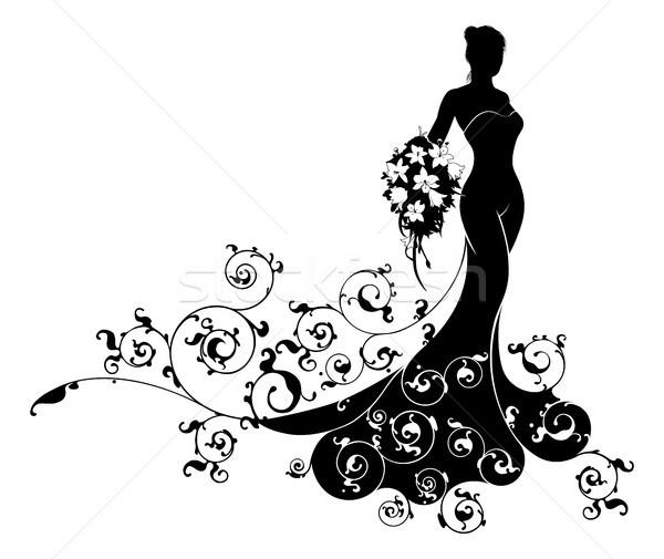 Stock photo: Bride Bouquet Wedding Silhouette Pattern
