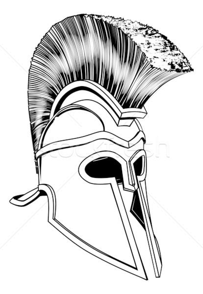 Monochrome Helm Illustration Bronze spartanisch wie Stock foto © Krisdog