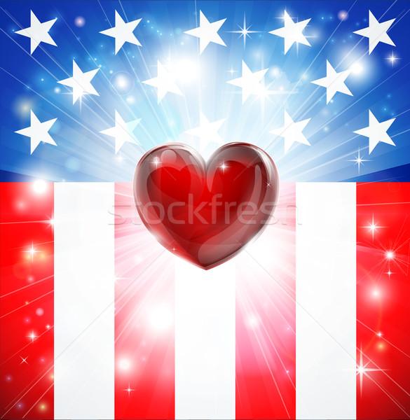 American Heart Patriotic Background Stock photo © Krisdog