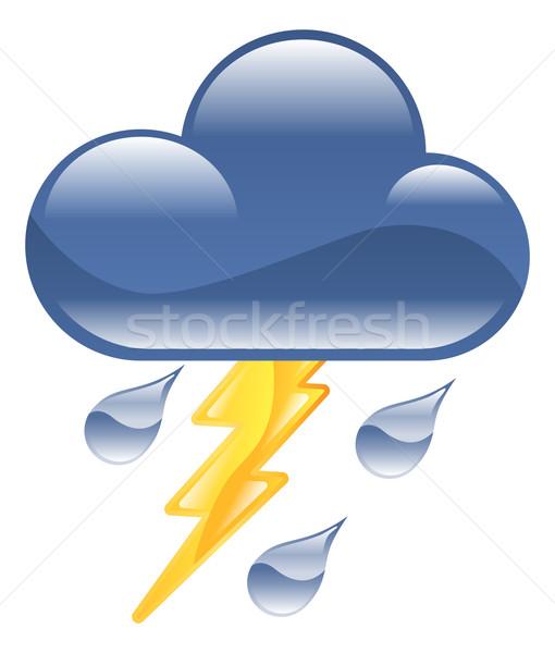 Weather icon clipart lightning thunder storm illustration Stock photo © Krisdog