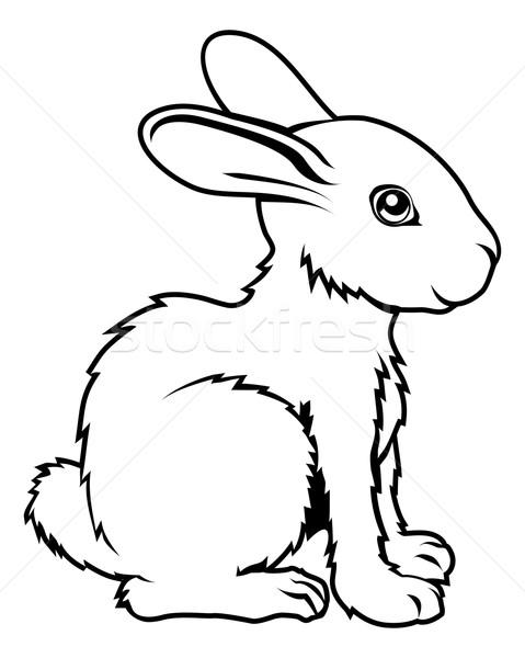 Foto d'archivio: Coniglio · illustrazione · tattoo · arte · star · nero
