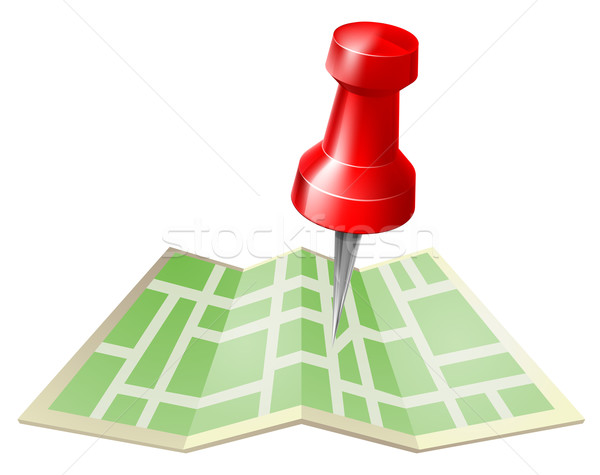 Stock photo: Map and pin