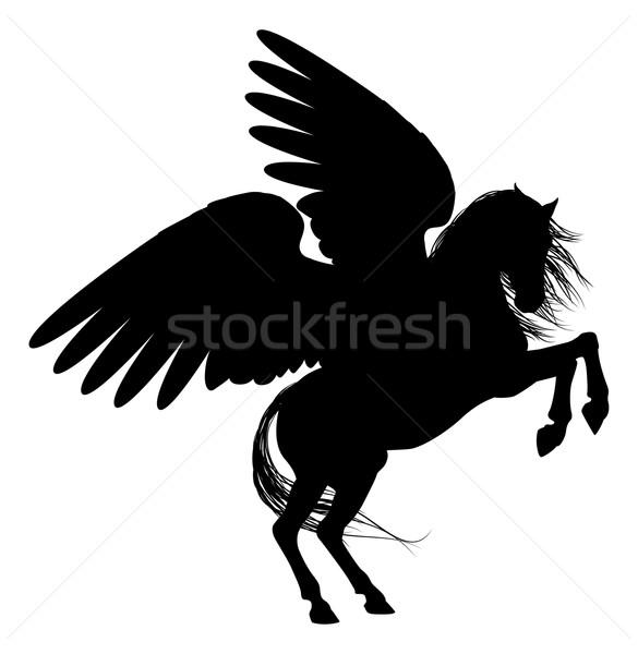 Rearing Pegasus Silhouette Stock photo © Krisdog