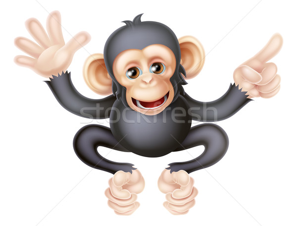 Cartoon Chimp Monkey Pointing Stock photo © Krisdog