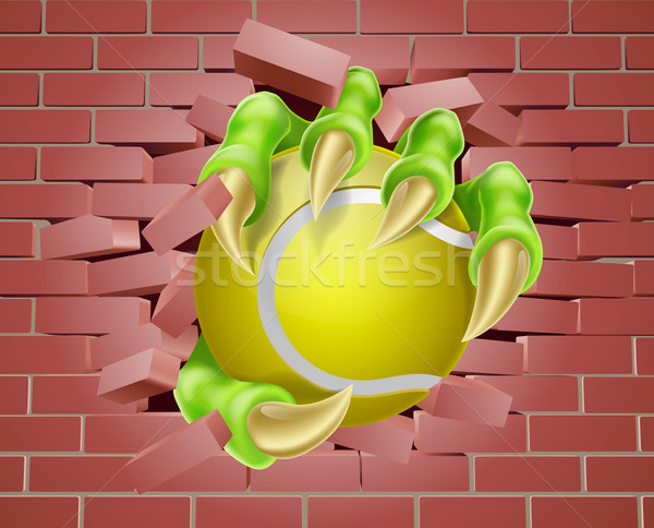 Claw with Tennis Ball Breaking Through Brick Wall Stock photo © Krisdog