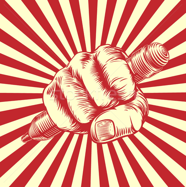 Propaganda Woodcut Pencil Fist Hand Stock photo © Krisdog