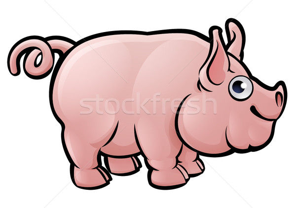 Stock photo: Pig Farm Animals Cartoon Character