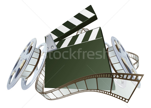 Film clapperboard and movie film reels Stock photo © Krisdog