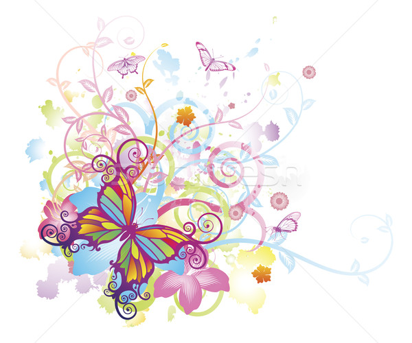 Abstract butterfly floral background Stock photo © Krisdog