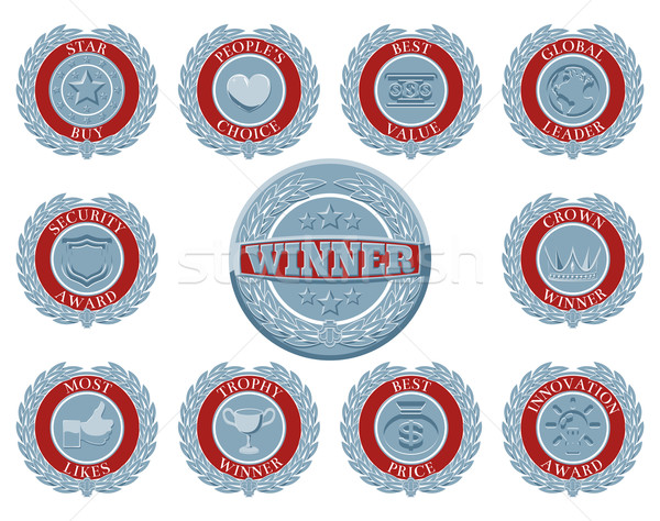 Winnaars gunning badges ingesteld Blauw Rood Stockfoto © Krisdog