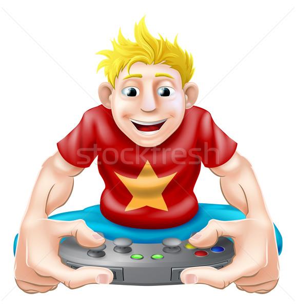 Heureux cartoon dessin jeunes jouer console de jeux Photo stock © Krisdog