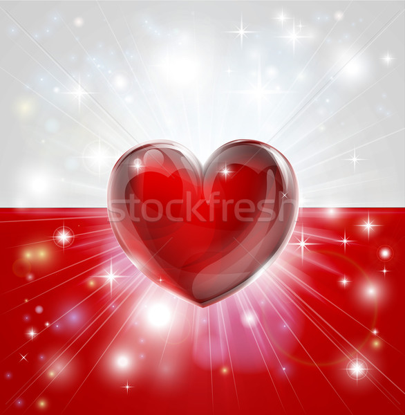 Love Poland flag heart background Stock photo © Krisdog