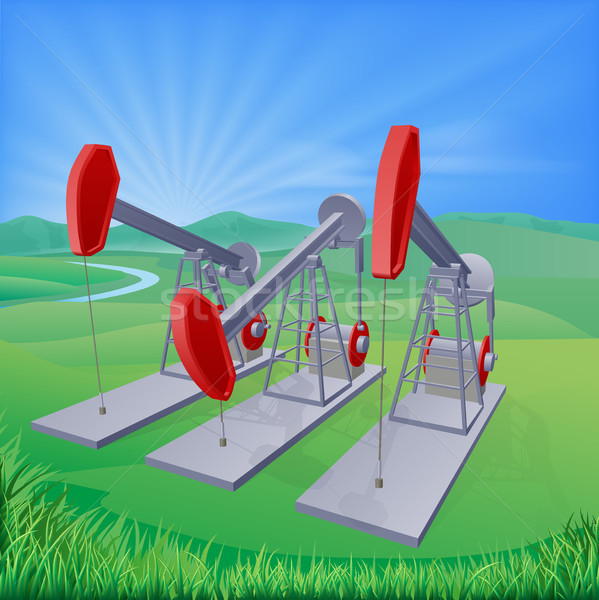 Oil well pumpjacks Stock photo © Krisdog