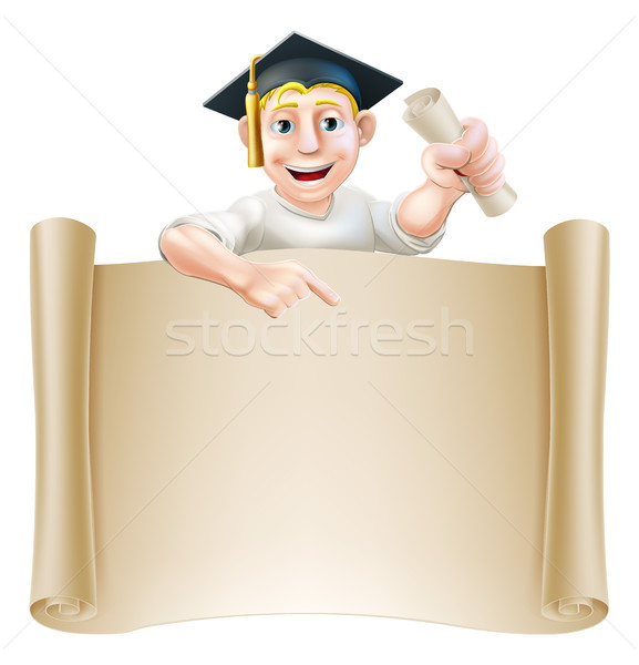 Graduate and scroll banner sign Stock photo © Krisdog