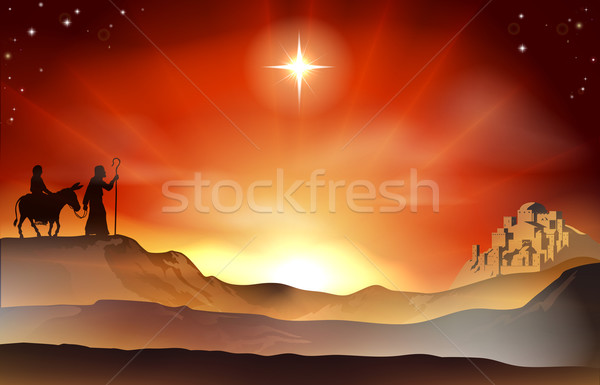 Nativity Christmas story illustration Stock photo © Krisdog