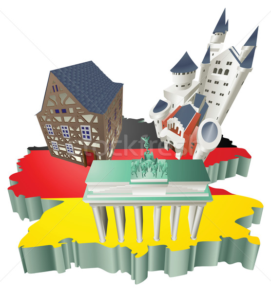 Illustration German tourist attractions in Germany Stock photo © Krisdog