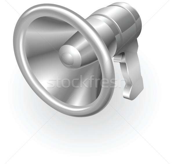 ストックフォト: 銀 · メタリック · メガホン · 実例 · サウンド · 広場