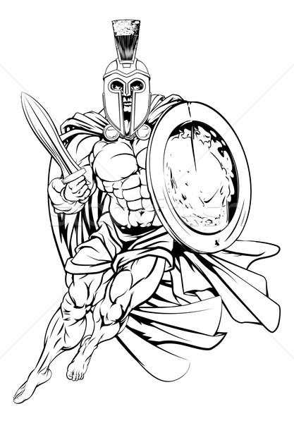 Anciens grec guerrier illustration musculaire fort Photo stock © Krisdog