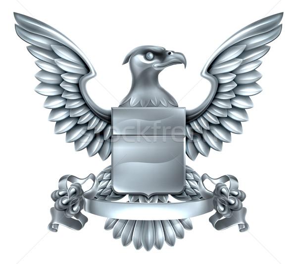 орел геральдика дизайна серебро металл щит Сток-фото © Krisdog