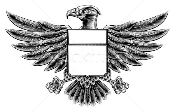 Woodcut Eagle Shield Stock photo © Krisdog
