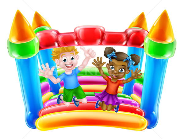 Children on Bouncy Castle Stock photo © Krisdog