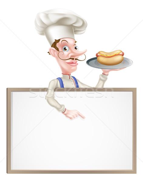 Rajz szakács tart hotdog mutat felirat Stock fotó © Krisdog
