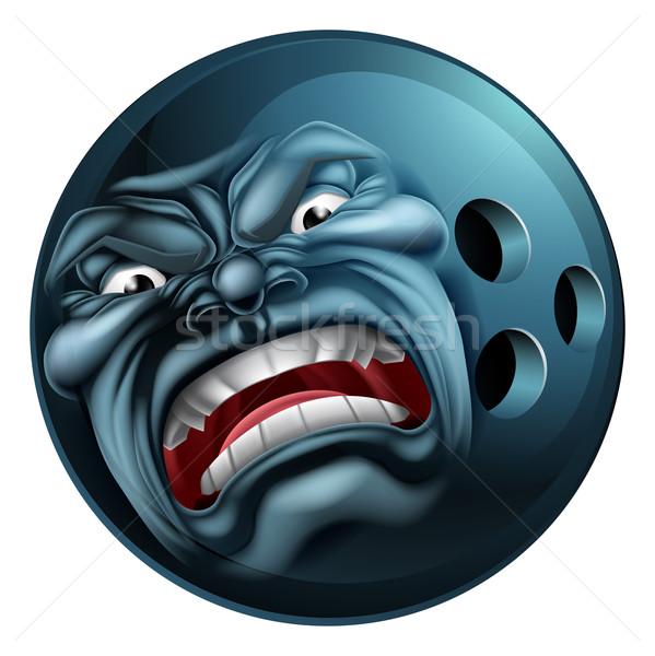 öfkeli bowling topu spor karikatür maskot bakıyor karakter Stok fotoğraf © Krisdog