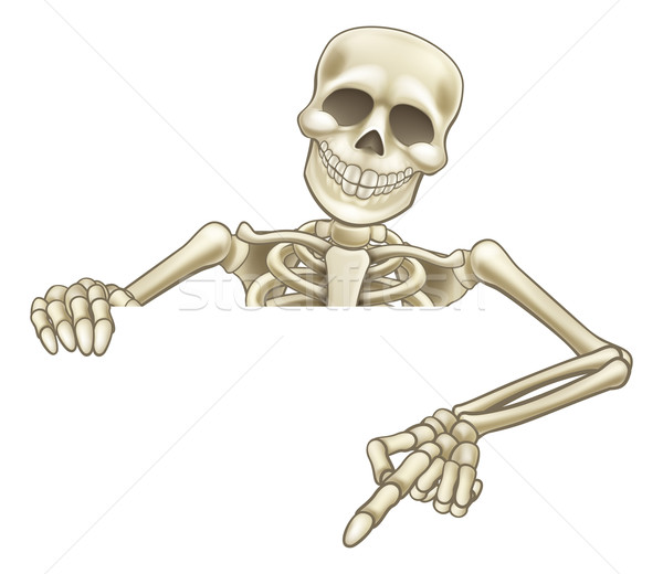 Cartoon Peeking Skeleton Sign Stock photo © Krisdog