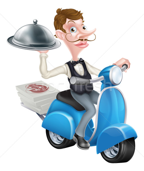 Cartoon Waiter on Scooter Moped Delivering Food Stock photo © Krisdog
