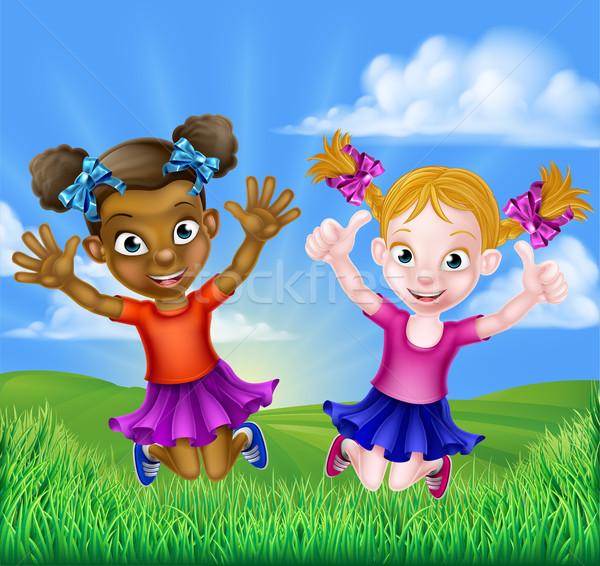 Happy Cartoon Girls Jumping Stock photo © Krisdog