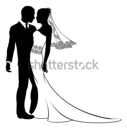 Bride and Groom Couple Wedding Silhouette Stock photo © Krisdog