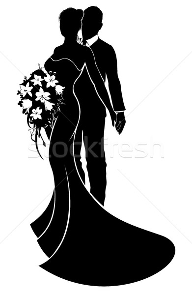 Wedding Couple Bride and Groom Silhouette Stock photo © Krisdog