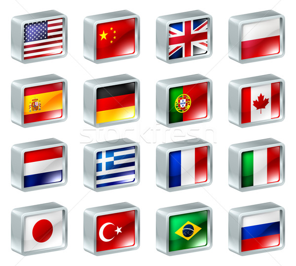 Flag icons buttons Stock photo © Krisdog