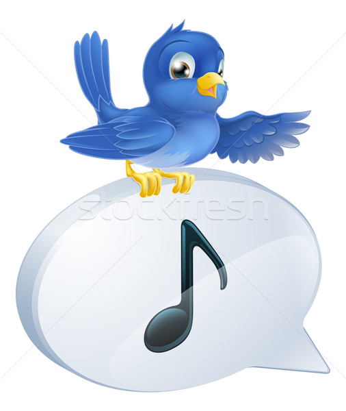 Bluebird musical note speech bubble Stock photo © Krisdog