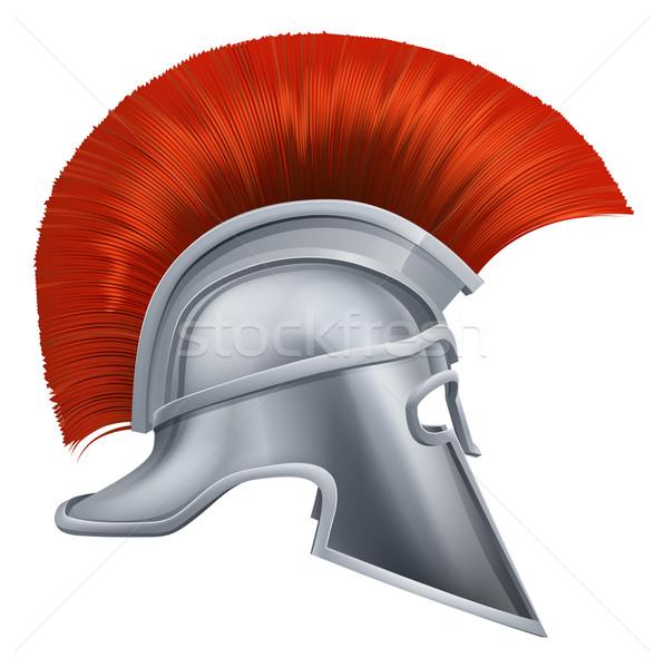 Antigo grego guerreiro capacete ilustração lado Foto stock © Krisdog