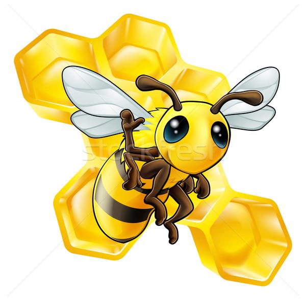 Arı petek sevimli karikatür el Stok fotoğraf © Krisdog