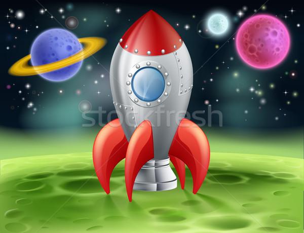 Cartoon spazio razzo straniero pianeta illustrazione Foto d'archivio © Krisdog