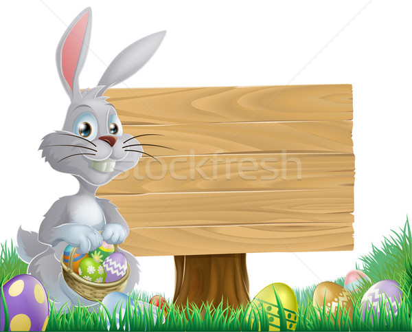 Chocolate eggs and Easter bunny sign Stock photo © Krisdog