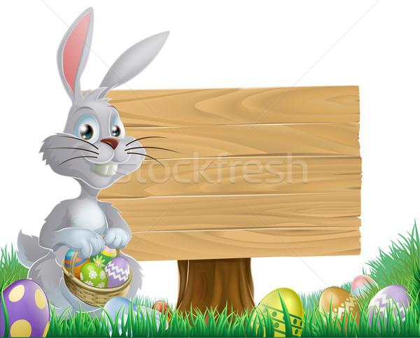 Chocolade eieren Easter Bunny teken konijn Stockfoto © Krisdog