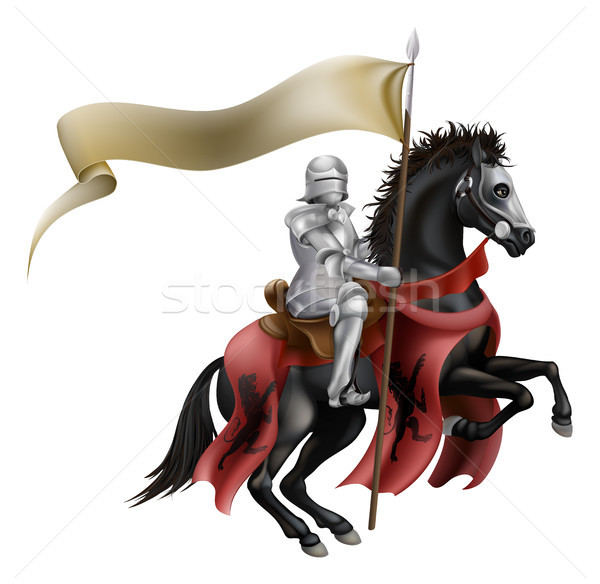 Knight on horse with flag Stock photo © Krisdog