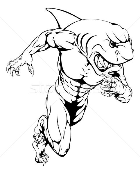 Shark sports mascot running Stock photo © Krisdog