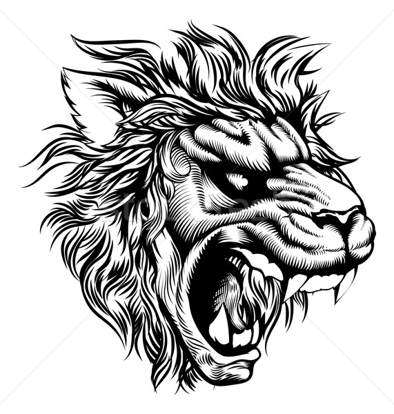 Vintage style lion Stock photo © Krisdog