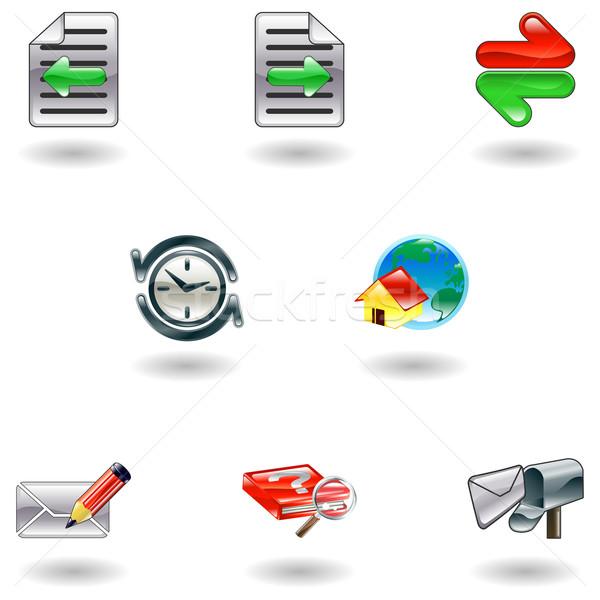 Shiny internet browser icon set Stock photo © Krisdog