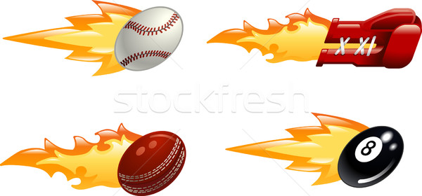 Glossy flaming sport icons Stock photo © Krisdog