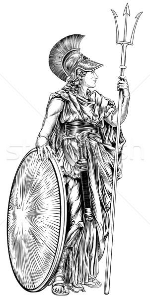Grieks godin illustratie mythologisch speer Stockfoto © Krisdog
